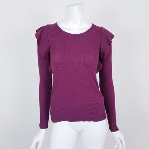 NWT Lucky Brand Ribbed Ruffle Knit Top Small